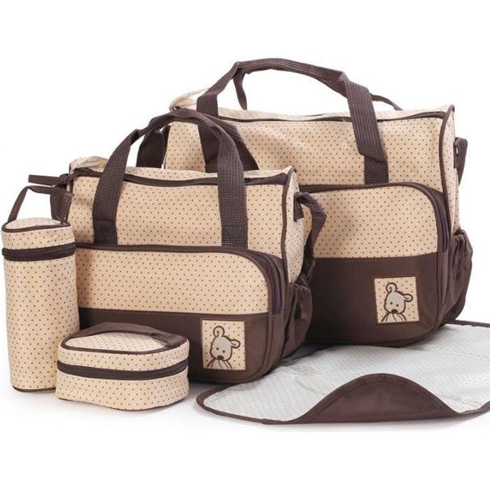 set de 5pcs sac main langer b b maman pour promenade voyage brun brun achat vente set. Black Bedroom Furniture Sets. Home Design Ideas