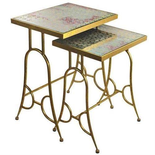 Set de 2 tables dor 64 cm achat vente table basse set for Set de table dore