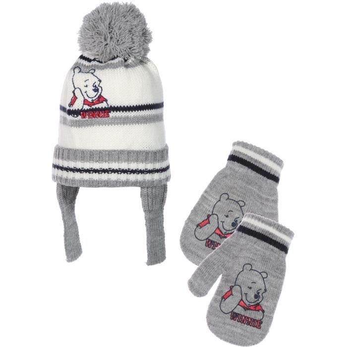 bonnet p ruvien et moufles b b gar on winnie l 39 ourson de. Black Bedroom Furniture Sets. Home Design Ideas