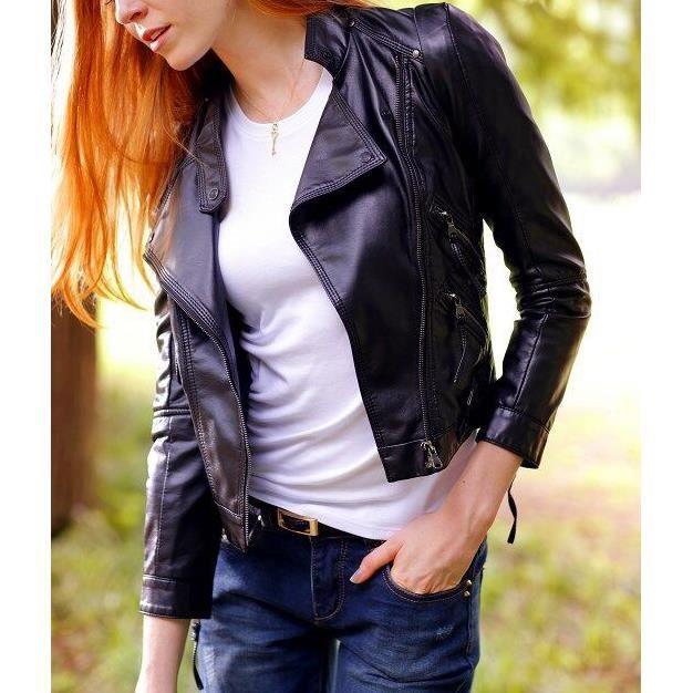 noir femme pu veste en cuir zipper veste noir noir achat. Black Bedroom Furniture Sets. Home Design Ideas
