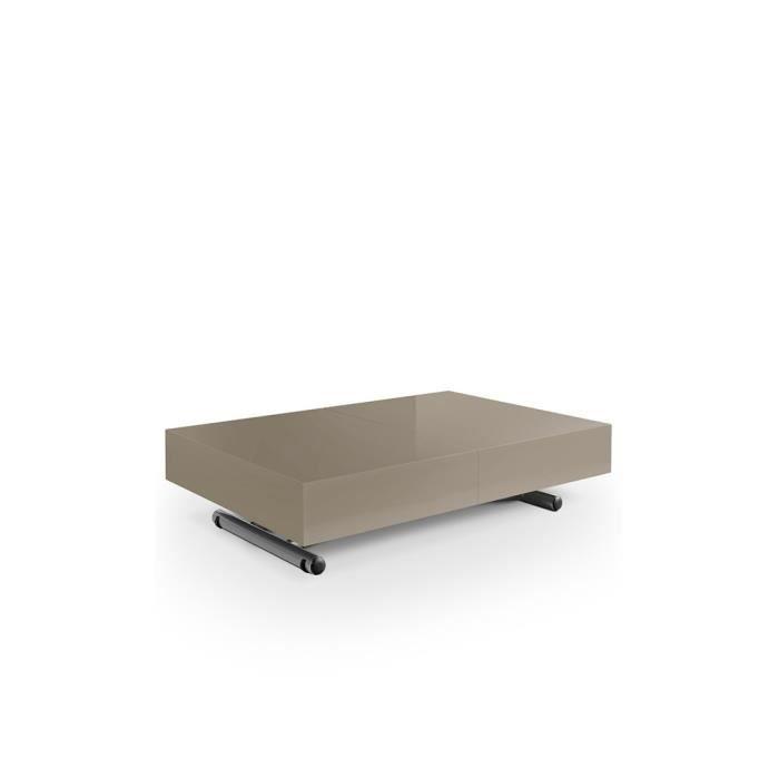 Table basse relevable et extensible avec 3 allonges - Table basse avec tablette relevable ...