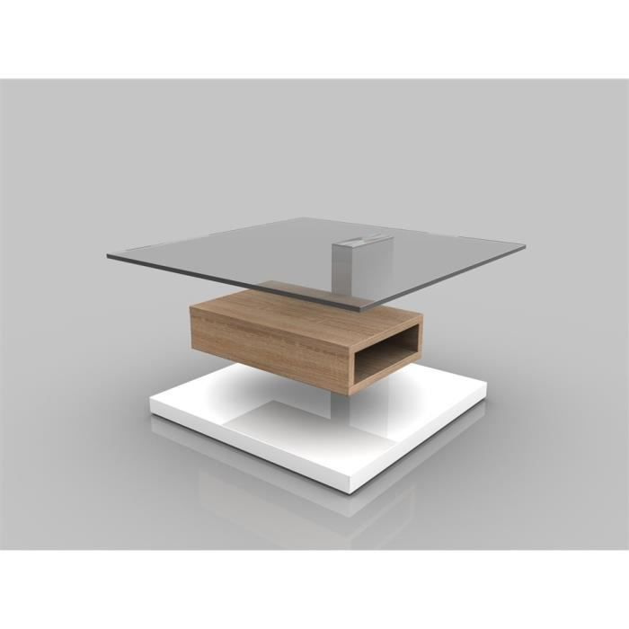 Pin table basse carr extensible laqu blanc avec 4 - Table basse carre laque blanc ...