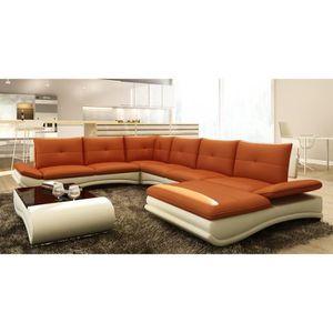 canap cuir orange achat vente canap cuir orange pas cher cdiscount. Black Bedroom Furniture Sets. Home Design Ideas