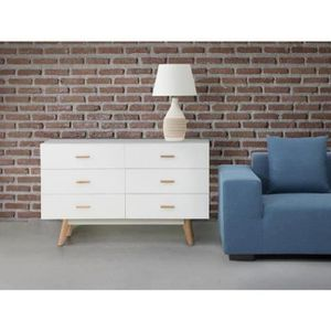 Commode 6 tiroirs blanc laque achat vente commode 6 - Commode meuble tv ...
