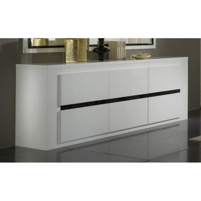 Bahut 3 portes design tania coloris laqu blanc et noir achat vente buffe - Bahut noir et blanc laque ...