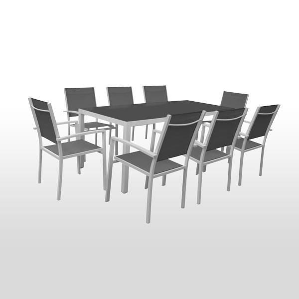 Table de jardin 8 personnes et 8 chaises gris a achat for Table jardin 8 personnes