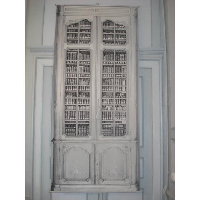 Toile panneau trompe l 39 oeil la biblioth que achat - Panneau mural trompe l oeil ...