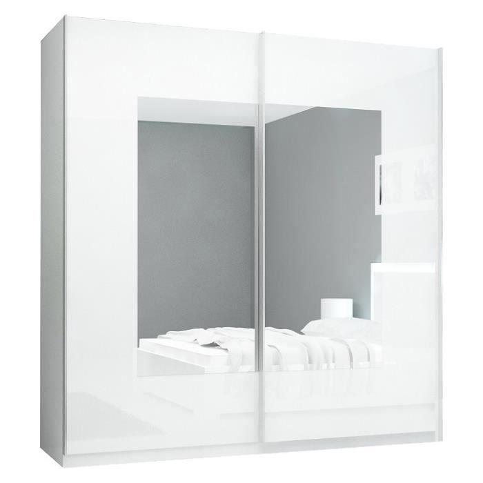 armoire adulte blanc 200 cm 2 portes coulissantes. Black Bedroom Furniture Sets. Home Design Ideas