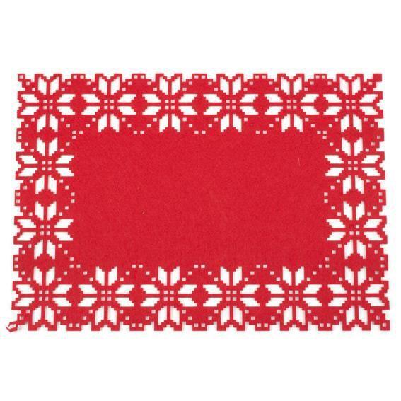 Set de table flocon de no l rouge couleur principale for Set de table noel