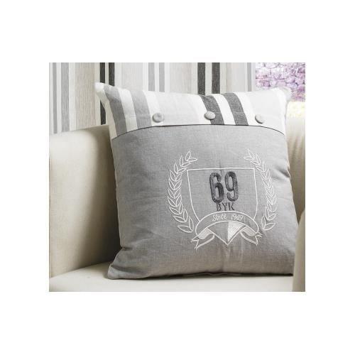 coussin brod ecusson gris 40 x 40 cm achat vente coussin cdiscount. Black Bedroom Furniture Sets. Home Design Ideas