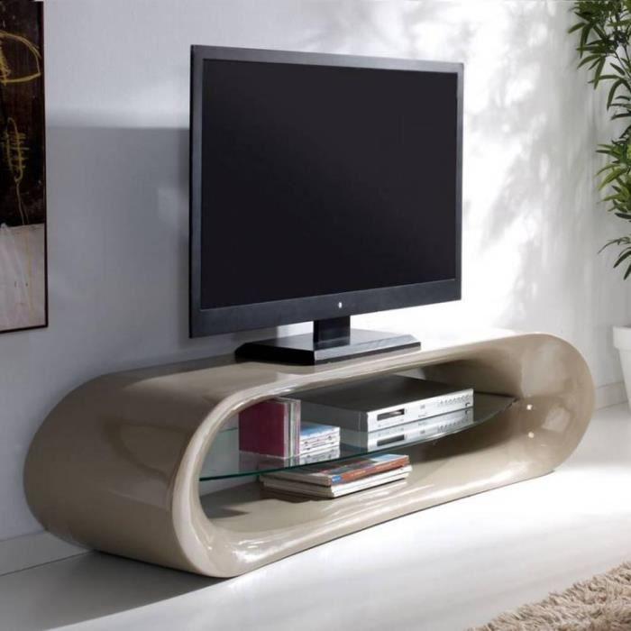 Meuble tv design ka na en fibre de verre taupe brillant et for Meuble tv taupe