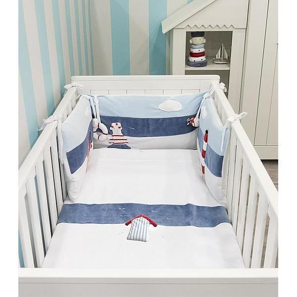 parure de lit 3pcs marin achat vente parure de lit b b 2009881632254 cdiscount. Black Bedroom Furniture Sets. Home Design Ideas