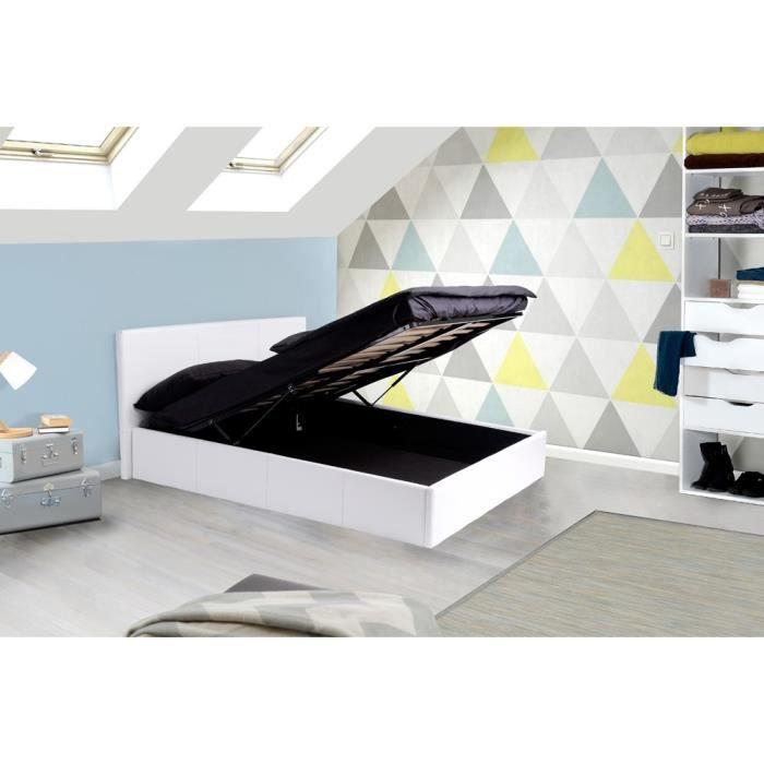 royal lit coffre adulte 160x200 sommier pvc blanc achat vente lit complet soldes d t. Black Bedroom Furniture Sets. Home Design Ideas