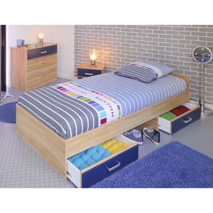 Leo lit enfant avec tiroirs 90x200cm ch ne et bleu achat for Lit zodiac 90x190