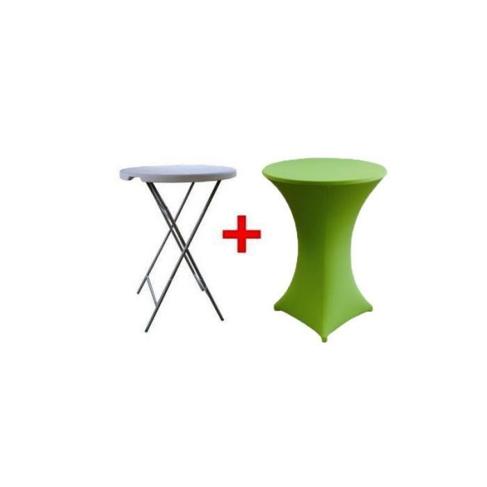 Table haute bar pliante mange debout housse vert lime - Table haute bar pliante ...