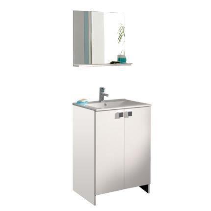ensemble miroir meuble avec vasque coloris blanc achat vente salle de bain complete. Black Bedroom Furniture Sets. Home Design Ideas