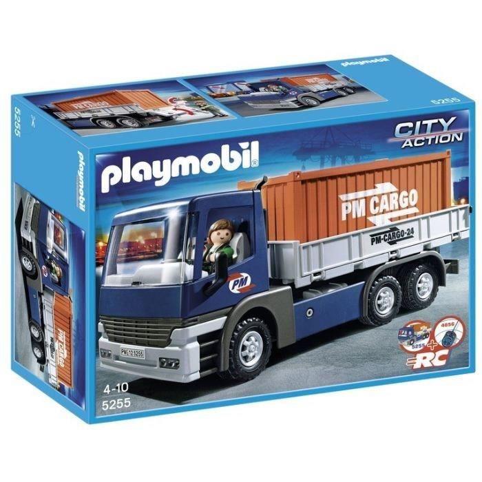 Playmobil 5255 camion porte conteneurs achat vente univers miniature cdiscount - Playmobil camion ...