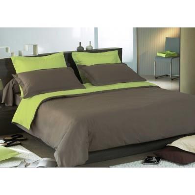 housse de couette bicolore taupe et anis satin de coton 120 fils cm 140x200. Black Bedroom Furniture Sets. Home Design Ideas