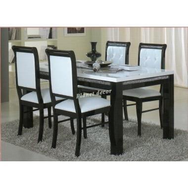 Table salle manger prestige 190 cm noir blanc achat for Table salle a manger 70 cm