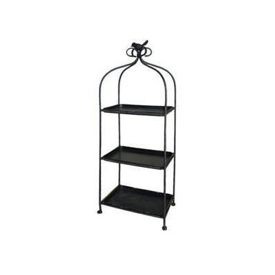 etag re noire m tal sur pied avec 3 niveaux et oiseau. Black Bedroom Furniture Sets. Home Design Ideas