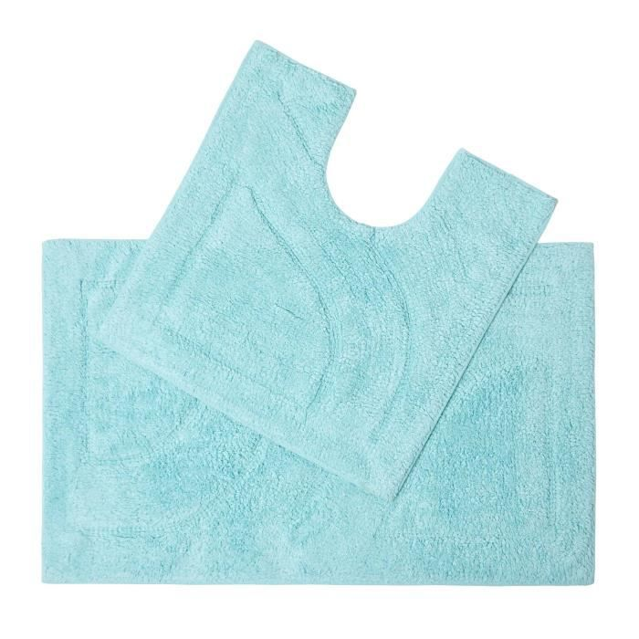 Tapis De Bain Haut De Gamme 2 Pi Ces Bleu Azur Achat Vente Tapis De Bain 5055967428256