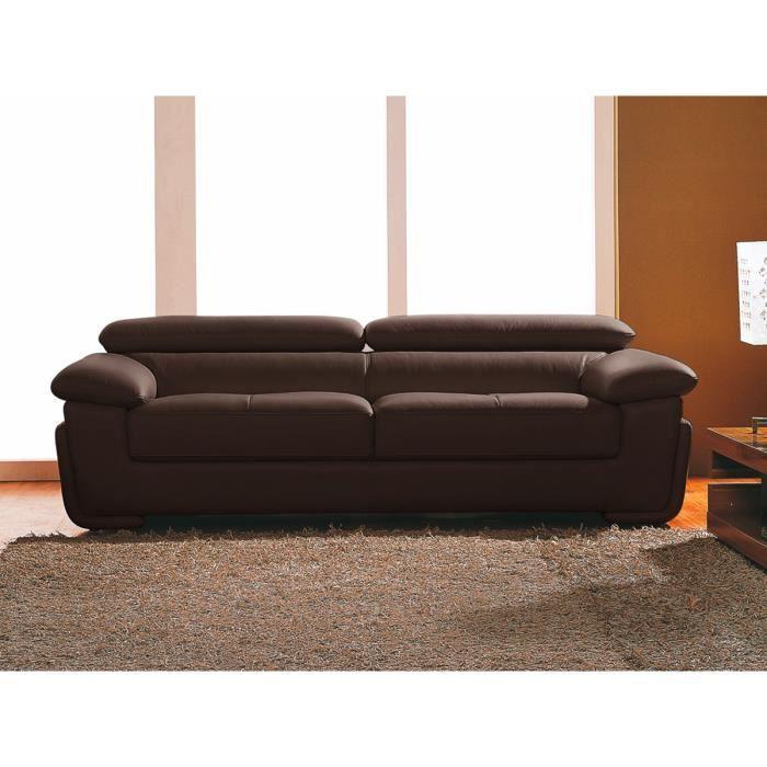 Canap cuir 2 places chocolat sena achat vente canap sofa divan cd - Type de cuir pour canape ...