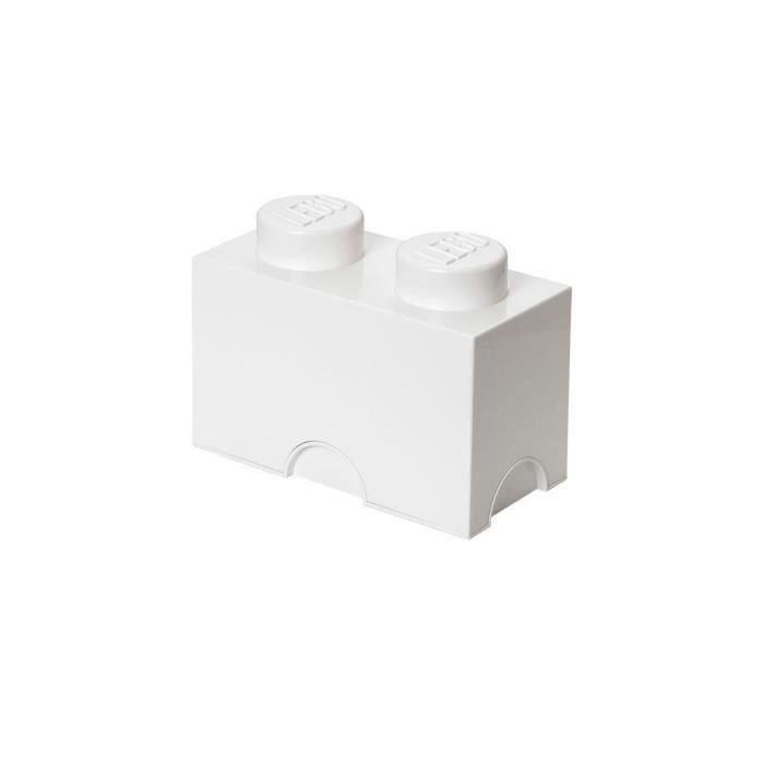 boite de rangement lego 2 plots blanc achat vente boite de rangement pvc cdiscount. Black Bedroom Furniture Sets. Home Design Ideas