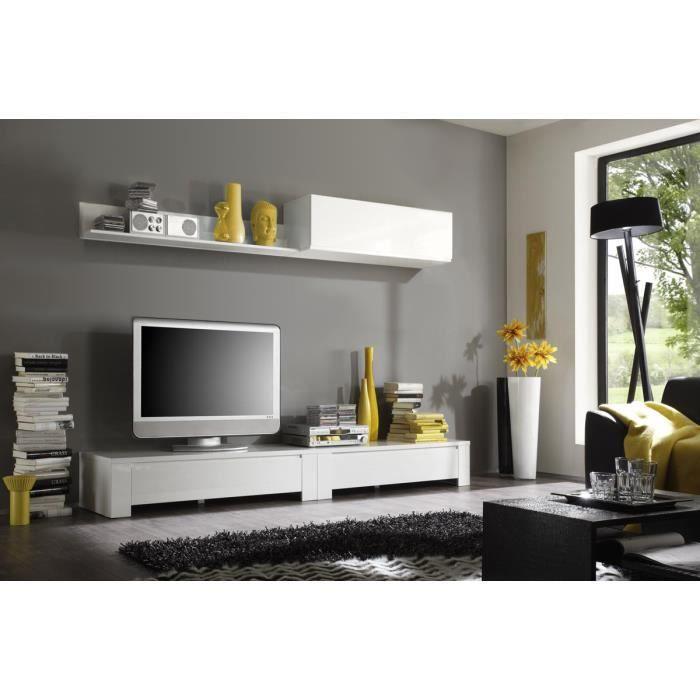 miliboo ensemble mural tv design eria blanc l achat vente meuble tv miliboo ensemble. Black Bedroom Furniture Sets. Home Design Ideas