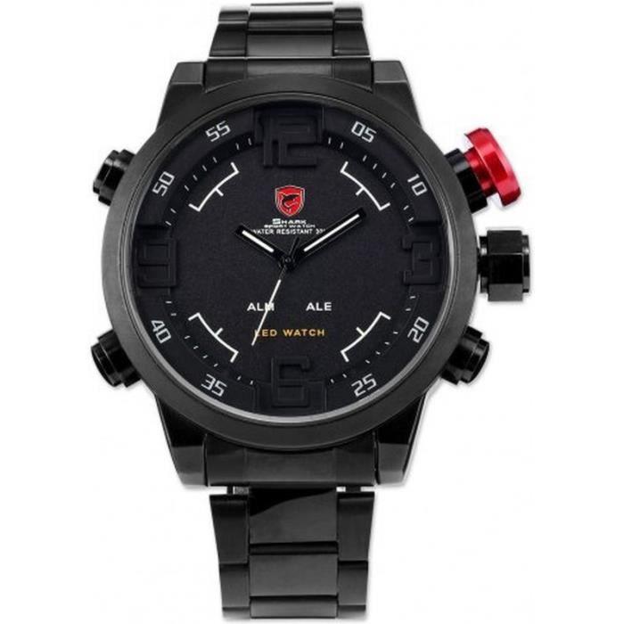 shark sh108 montre homme analogique digitale bracelet acier inoxydable achat vente montre. Black Bedroom Furniture Sets. Home Design Ideas