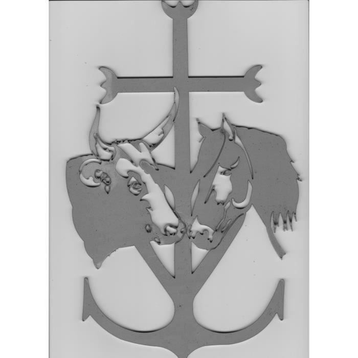 D cor croix de camargue avec cheval taureau acier achat for Decoration murale tete de taureau