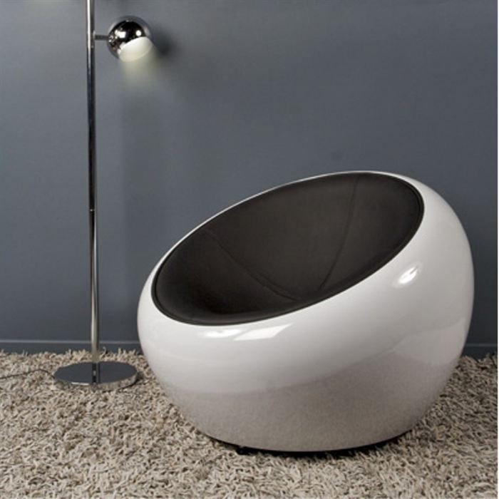 fauteuil boule lounge mota blanc noir achat vente fauteuil abs plastique pu cdiscount. Black Bedroom Furniture Sets. Home Design Ideas