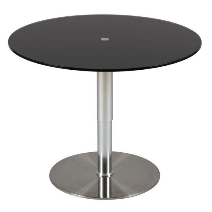 Table relevable noir en hauteur diam 900 x ht achat for Table basse relevable noir