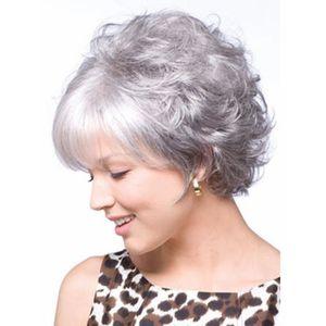 Perruque Femme Grise Cheveux Gris Ondulés pour les Dames
