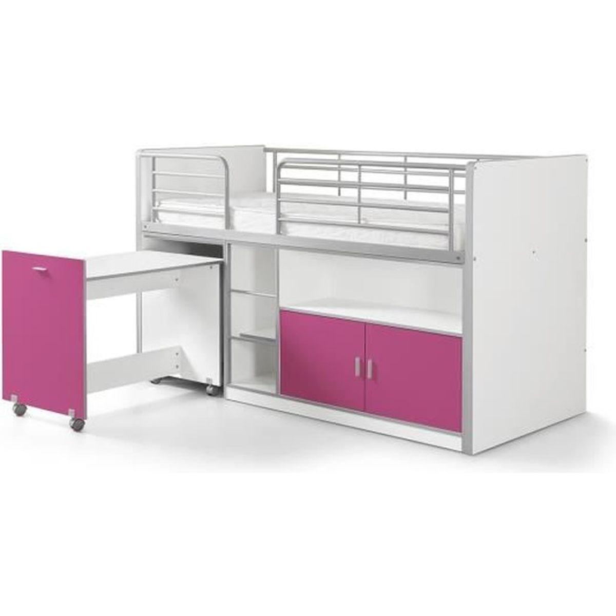Vipack lit mezzanine bureau rangement 90x 200 bonny fuchsia achat ven - Lit mezzanine rangement ...