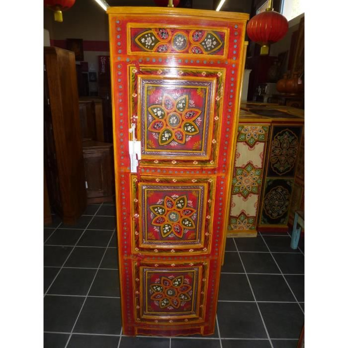 Meuble d 39 angle 3 portes peint rouge fleurs achat vente for Meuble 3 portes occasion