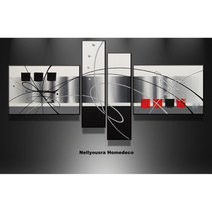 Tableau design black red noir gris rouge 120cm achat for Deco maison walmart