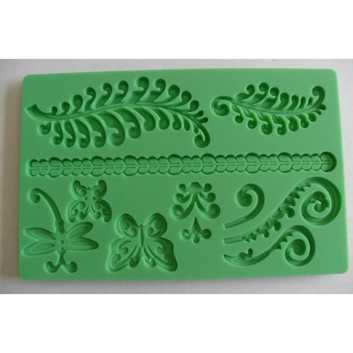 plaque en silicone feuilles papillons pour pate achat vente moule plaque en silicone. Black Bedroom Furniture Sets. Home Design Ideas