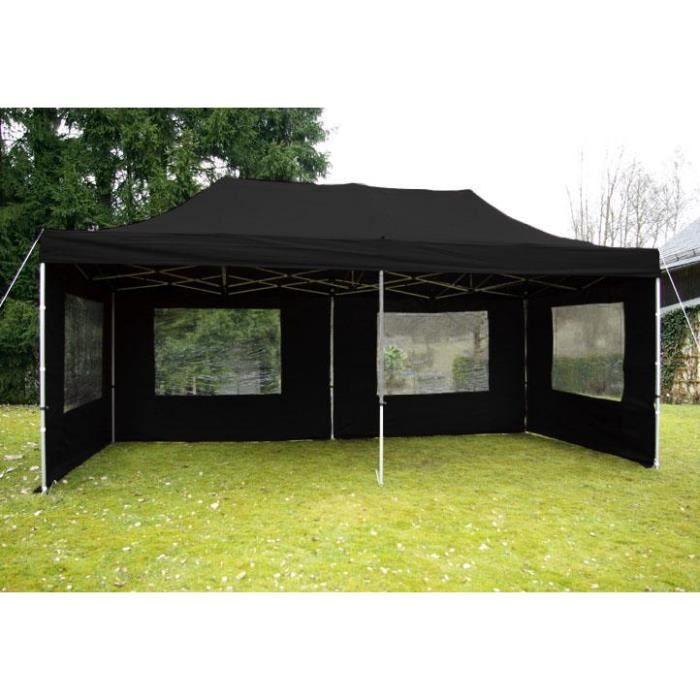 pavillon de jardin noir 3 x 6 m achat vente tonnelle barnum pavillon de jardin noir 3 x. Black Bedroom Furniture Sets. Home Design Ideas