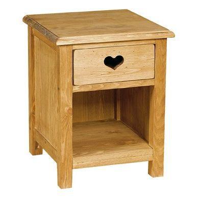 Chevet rustique avec coeur 1 tiroir 1 niche achat for Table de chevet solde