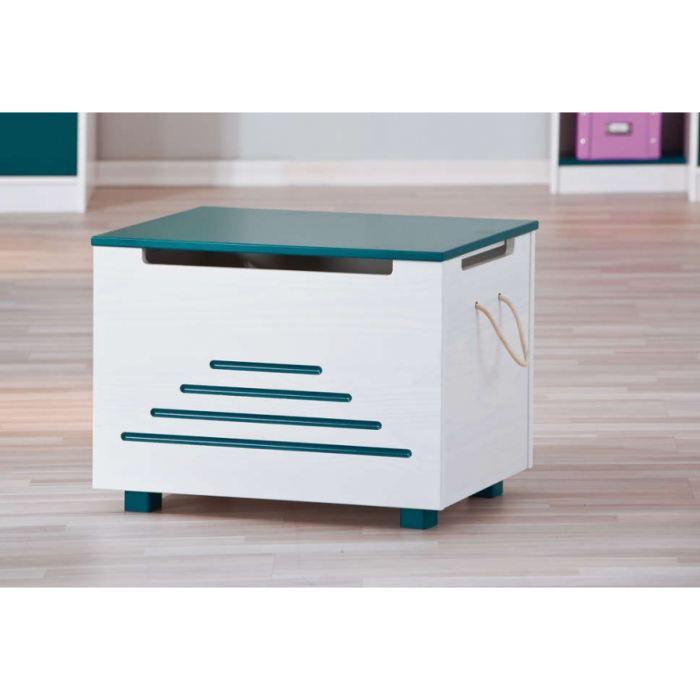 coffre a jouets enfant blanc bleu petrole achat vente. Black Bedroom Furniture Sets. Home Design Ideas