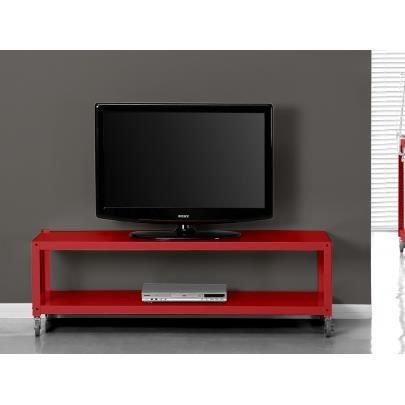 Meuble tv alcali sur roulettes 2 tablettes m t achat vente meuble tv - Meuble tv a roulettes ...