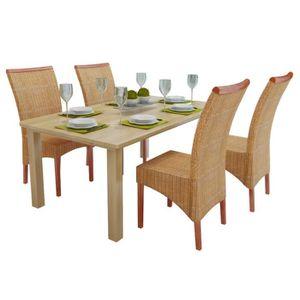 Chaises bois tresse achat vente chaises bois tresse - Set de cuisine en rotin ...