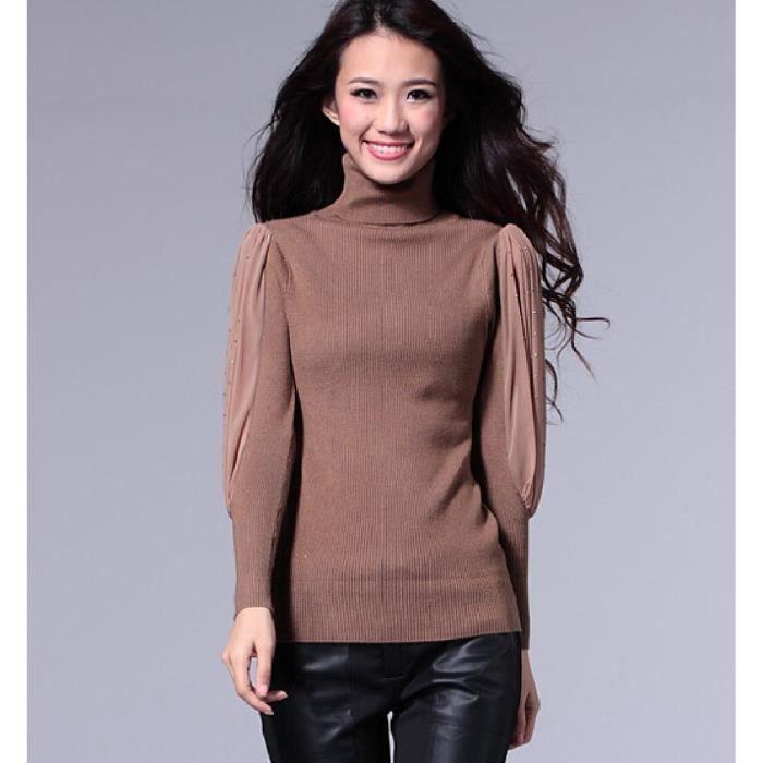 pull col roul slim paillette elastique maille tricot coton chaud manche longue hiver femme 36. Black Bedroom Furniture Sets. Home Design Ideas