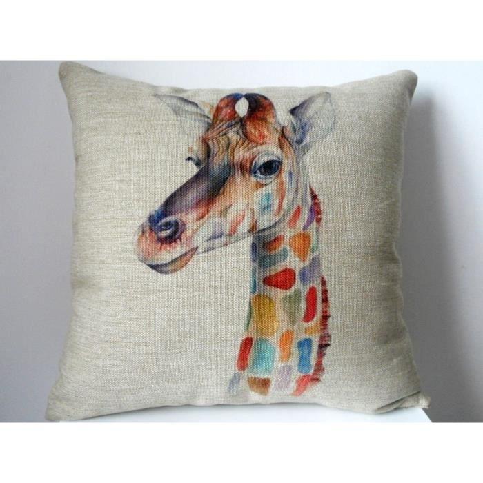 Dreamshop taie d 39 oreiller pour canap colorful giraffe for Taie d oreiller pour canape