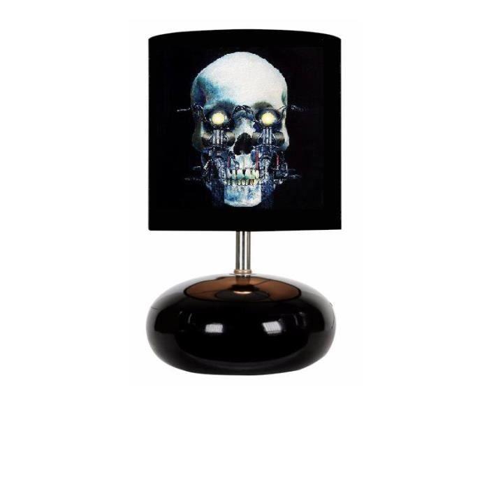 kikoucoeur lampe de chevet boule tete de mort moto bickers noir achat vente kikoucoeur lampe. Black Bedroom Furniture Sets. Home Design Ideas