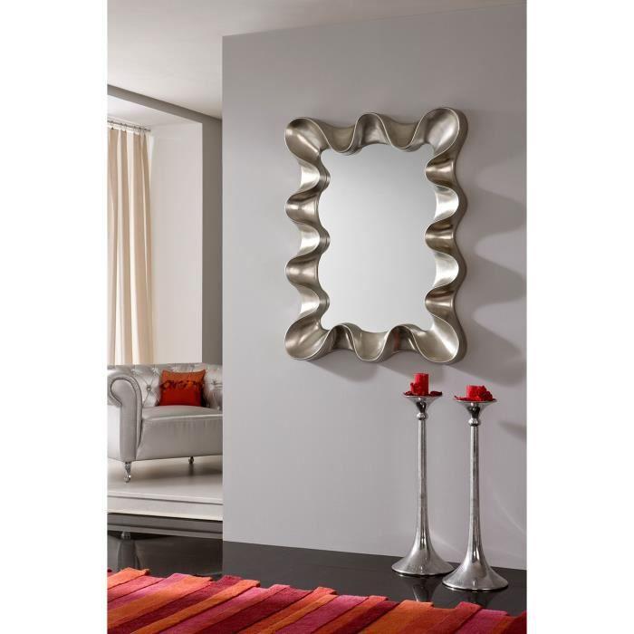 Miroir mural gris argent ou noir laqu design reggie gris for Miroir gris argent