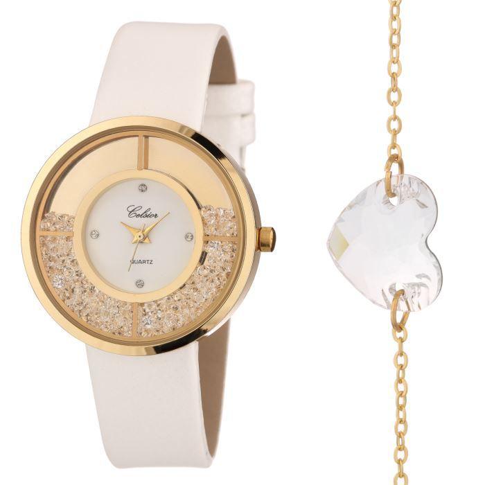 celsior montre et bracelet cristaux de swarovski femme blanc chic achat vente pack montre. Black Bedroom Furniture Sets. Home Design Ideas