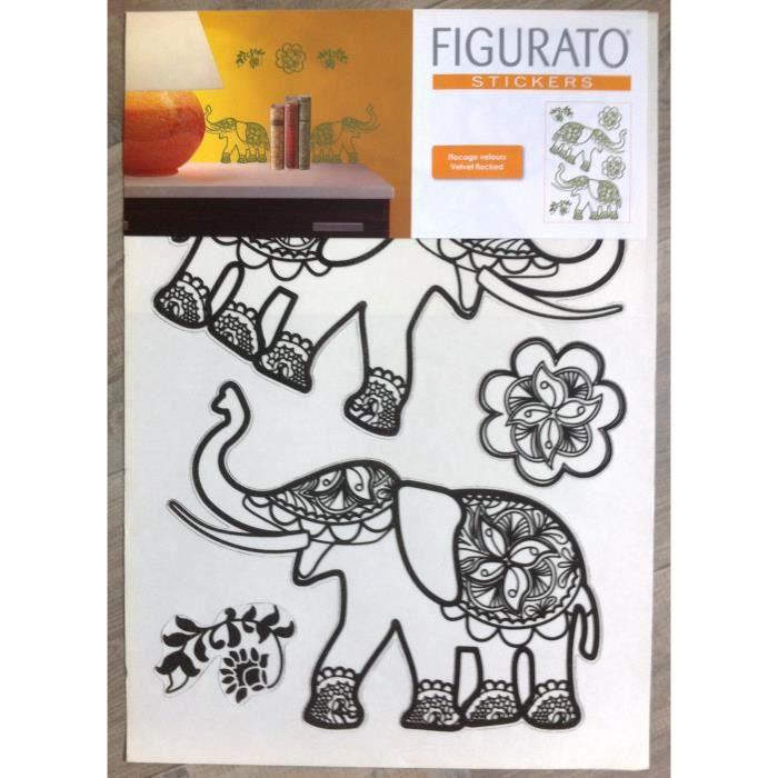 6 stickers muraux adhesif elephants indien velour achat - Decoration stickers muraux adhesif ...