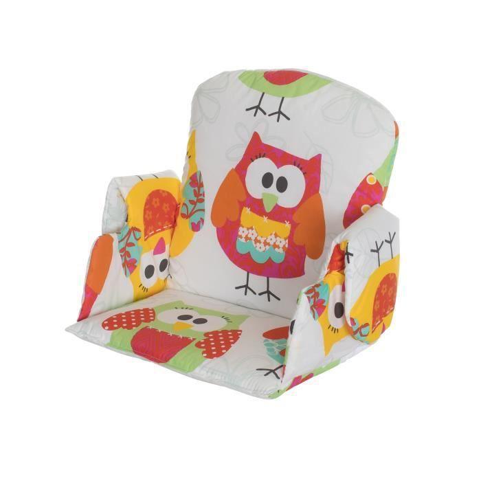 Coussin de chaise avec rabat tissu hibou achat vente - A quel age mettre bebe dans la chaise haute ...