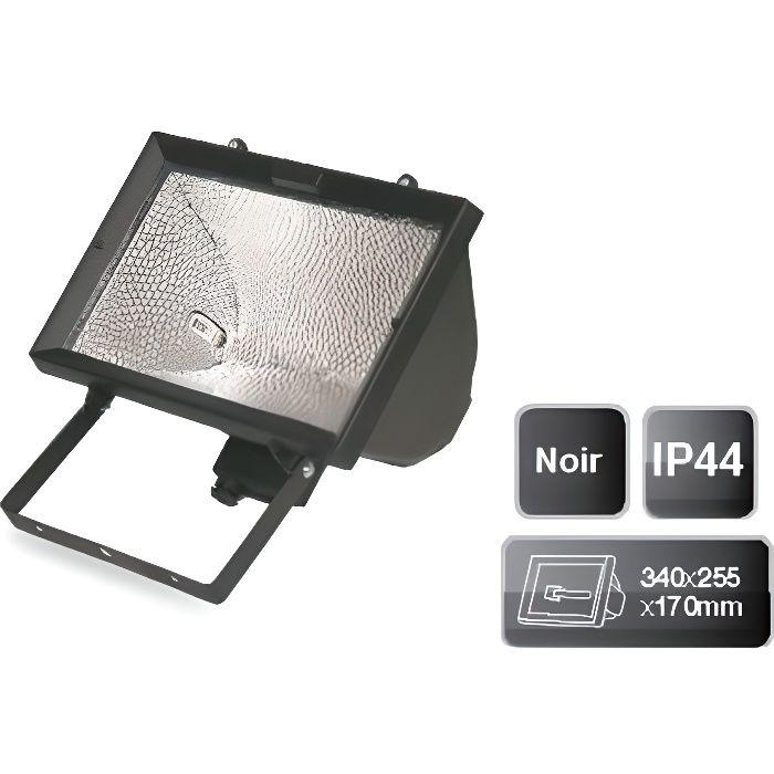 Projecteur halog ne noir 1500w achat vente projecteur for Halogene exterieur